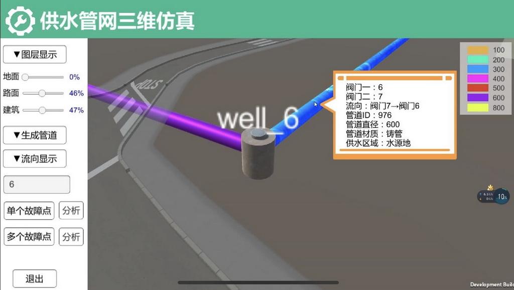 虚拟现实与游戏竞赛作品——基于Unity3d的城市供水管网三维仿真预测系统