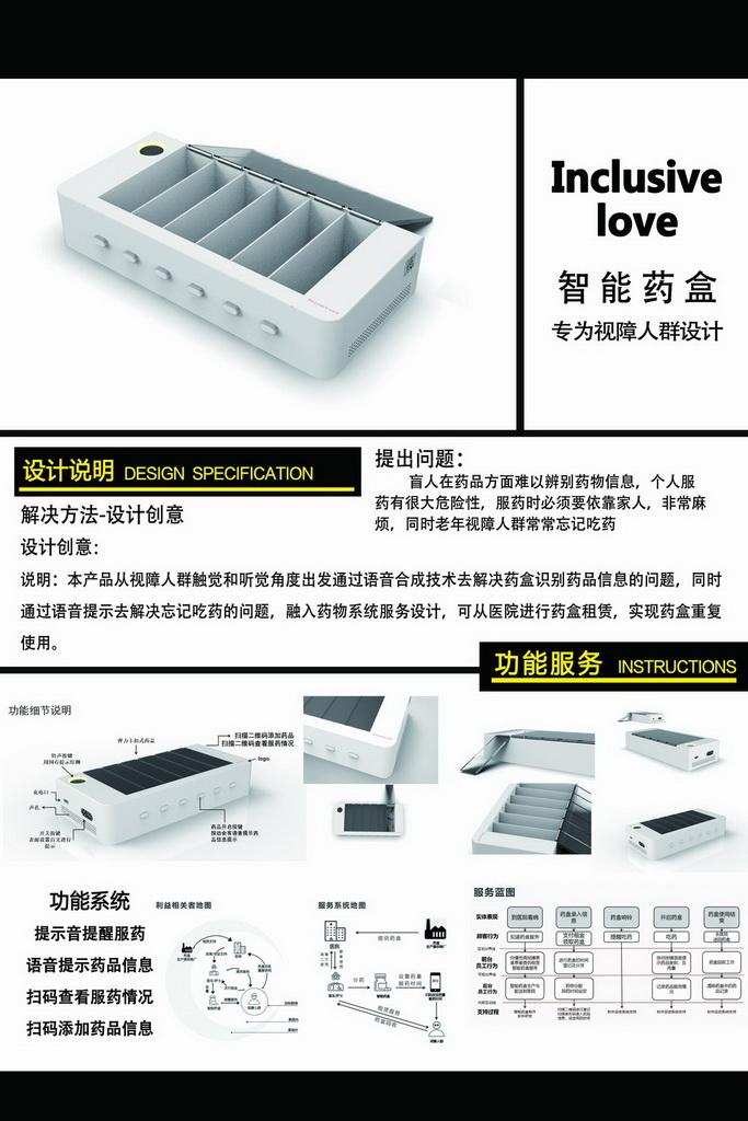 智能产品设计竞赛作品——Inclusive Love 智能药盒—为视障人群设计